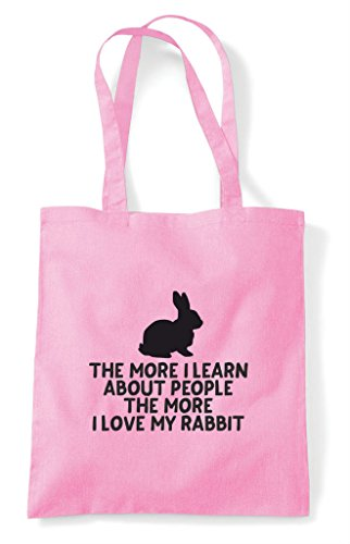 Bag Animal Learn Pink Love More Funny The Light Tote Person Shopper I People My About Pets Rabbit Lover RBxqg