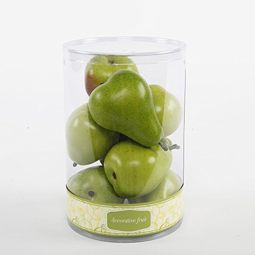 FT1378 Artificial 8 Scented Pears in Cylinder -12 Pieces (Green) by Flora Bunda