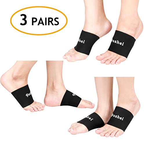 Compression Arch Support Sleeve for Men & Women (3 Pairs), Poshei Plantar Fasciitis Braces for High Arch Pain Relief, Flat Feet, Heel Spurs and Treatment for Daily Use with Arch Support