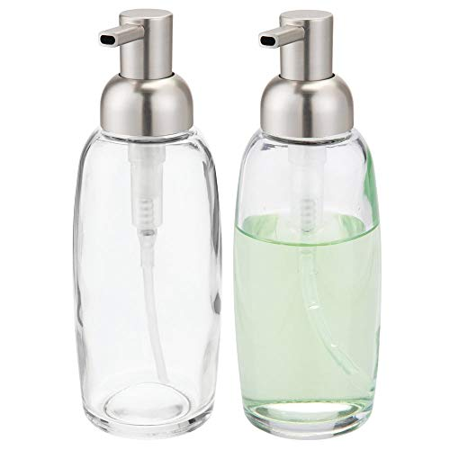 (mDesign Round Glass Refillable Liquid Soap Dispenser Pump Bottle for Bathroom Vanity Countertop, Kitchen Sink - Holds Hand Soap, Dish Soap, Hand Sanitizer, Essential Oils - 2 Pack -)