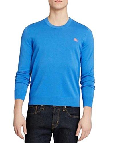 Burberry 'Barton' Blue Cotton Crewneck Sweater M Medium NWT - Discount Burberry