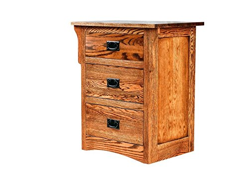 Forest Designs FD-3035Arch-AC- WA Arts and Crafts Three Drawer Nightstand, 25