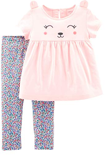 Carter's Baby Girls' 2-Piece Top and Legging Set (Pink Bear/Floral, 9 Months) -