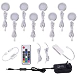 Aiboo RGB Color Changeable LED Under Cabinet Lights Kit 8 Packs of Aluminum Slim Puck Lamps for Chirstmas Xmas Decorating Kitchen Counter Wardrobe Counter Furniture Ambiance Lighting