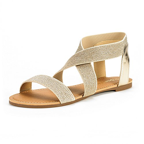 DREAM PAIRS Women's Elatica-6 Gold Pu Elastic Ankle Strap Flat Sandals - 7 M US by DREAM PAIRS