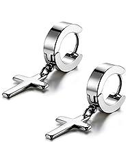 Flongo Men's Womens Vintage Stainless Steel Cross Dangle Hinged Hoop Earrings