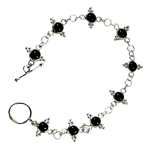 Jewelryonclick Natural Sterling Silver Black Onyx Bracelets For Women Toggle Clasps In Size 6.5-8 Inch