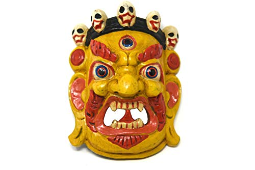 TM THAMELMART FOR BEAUTIFUL MINDS Hand Craving Nepalese Lord Mahakala Tibetan Buddhism Wooden Mask Wall Decor (Yellow)