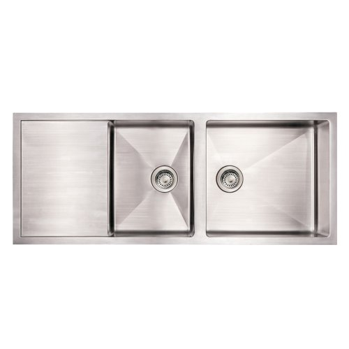 Whitehaus WHNCMD5221-BSS Noah'S Collection 52-Inch Commercial Single Bowl Reversible Under Mount Sink with an Integral Drain Board, Brushed Stainless Steel ()