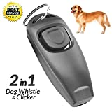 XQFI Dog Whistle with Clickers,Stop Barking Control Ultrasonic Patrol Sound Repellent Repeller,Professional Ultrasonic Dog Training Whistle for Dog or cat, sit, Come, Stop Barking, Stay (Black)