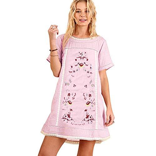 Damen Spitze 3//4 Arm Patchwork Kleid Minikleid Sommerkleid Tunikakleid Übergröße