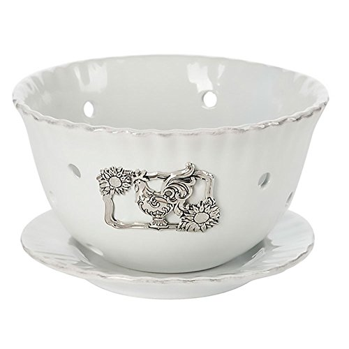 (Ganz Rooster Sunflower 2 Piece Berry Bowl with Saucer Set White Ceramic)