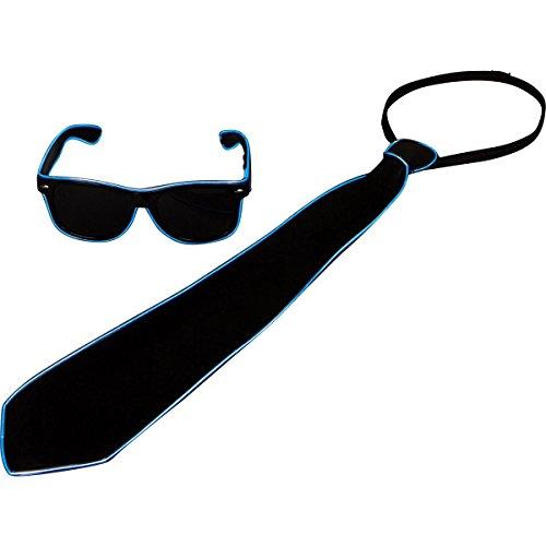 Raveanomics El Wire Aqua Blue LED Sunglasses & Tie Combo (Rectangle Sunglasses & Tie, - El Sunglasses Wire