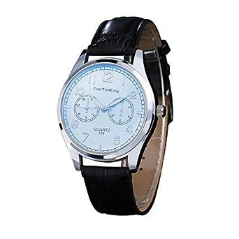 SamMoSon Relojes Hombre Resistentes Al Agua Mujer Azul Elegantes,Moda Hombre Cuero Acero Inoxidable Deporte Cuarzo Noctilucent Reloj De Pulsera: Amazon.es: ...