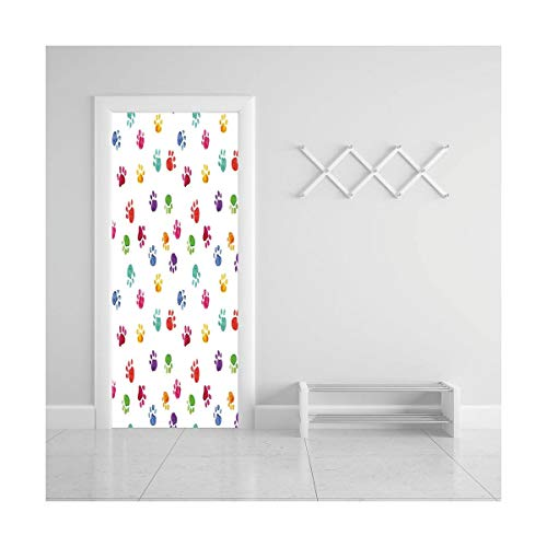 HappyShopDecoration Door Decal Wall Murals 3D Vinyl Wallpaper Stickers for Room Decor,30.3x78.7 inches,Colorful ()