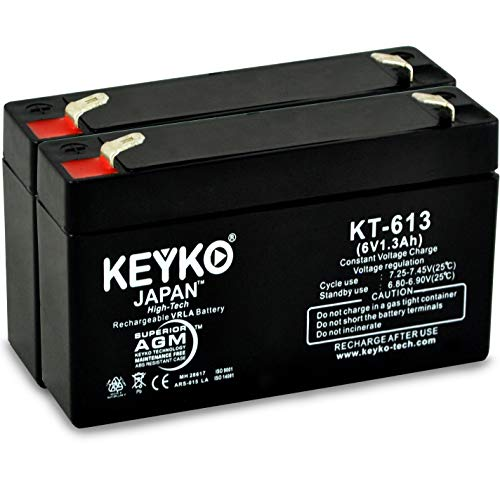 (GE Simon & XT Panel 6-1.3 Battery 6V 1.3Ah - 2 Pack Fresh & REAL 1.3Amp AGM/SLA Rechargeable Replacement Designed for Generic Use - Genuine KEYKO - F1 Terminal)