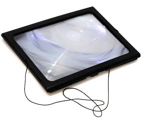 Oramics praktische Leselupe mit LED-Beleuchtung - Vergrößerungsglas - Lupe im A4-Format - Größe: ca. 20x27 cm