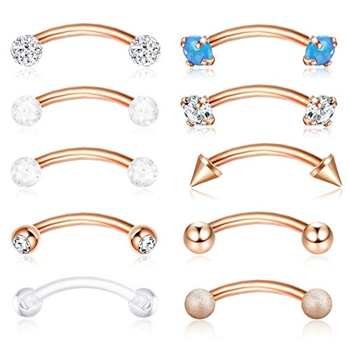 ORAZIO 16G 8MM Eyebrow Belly Button Rings Rook Earrings Daith Helix Piercings Barbell Body Jewelry Rose Gold Tone ()