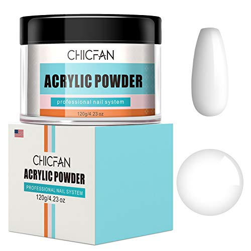 CHICFAN White Acrylic Powder for Nail Extension & Encapsulation - 4.23 oz/Gift Box