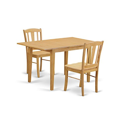 East West Furniture NODL3-OAK-W 3 Piece Dining Table for Small Spaces and 2 Chairs Set