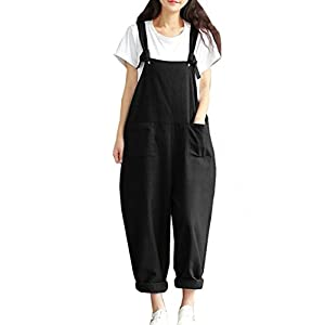 Hotmiss Women Plus Size Baggy Linen Overalls Wide Leg Pants Sleeveless Rompers Jumpsuit Waist Haren Pants