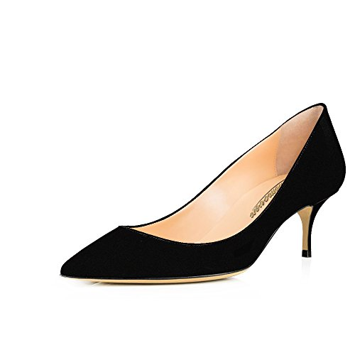 252da23e862 Modemoven Women s Black Suede with Red Sole Patent Leather Pointed Toe  Kitten Heels Gorgeous Pumps Evening