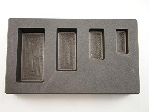 1-2-5-10 oz Silver Bar AG High Density Graphite Mold 4-Cavity Combo by Make Your Own Gold Bars