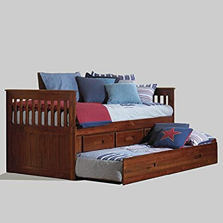 American Furniture Classics Merlot Solid Pine Wood 3 Drawer Twin Rake Bed With Matching Entertainment Dresser