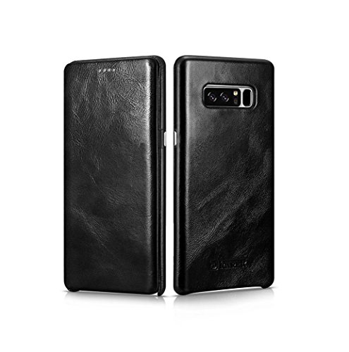 - Galaxy Note 8 Case,Mangix Premium Samsung Galaxy Note 8 Genuine Leather Wallet Case Curve Edge Flip Style, Vintage Folio Cover [Support S Pen] for Samsung Galaxy Note 8 (Black)