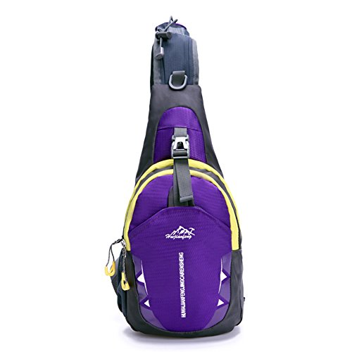 Portable Multi-functional Water Repellent Unisex Outdoor Sports Chest Pack Bum Bag Sling Bag Hiking Daypacks Adjustable Strap Shoulder Backpack Cross Body Bag Blue Purple