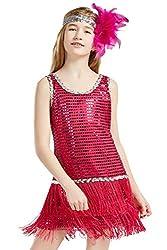 Girls 1920s Sequin Flapper Dress with Headband