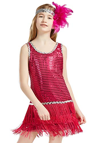BABEYOND 1920s Flapper Dress for Girls Long Fringe Gatsby Dress Girl's Roaring 20s Sequins Beaded Dress Vintage Art Deco Dress for Girls (Rose Red, Medium)