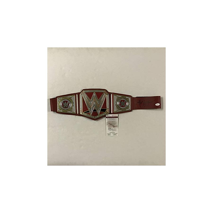 Autographed/Signed Hulk Hogan Red Replica WWE Wrestling Championship Title Belt JSA COA