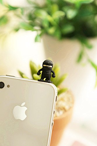 ZOEAST Silicone Owl Ninja White Bear Penguin Cat Duck Dust Plug 3.5mm Phone Headphone Jack Earphone Cap Ear Cap Dust Plug Charm iPhone 4 4S 5 5S SE 6 6S Plus HTC Samsung IPad IPod etc. (Black Ninja)