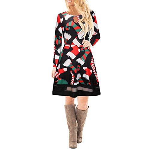 Mujer Navidad Christmas Impreso Cordón Vestir, WINWINTOM Chicas Manga Larga Mini Vestido Style2