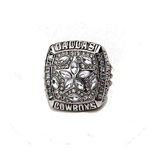 Gloral HIF Dallas Cowboys Football Championship Ring Supper Bowl Rings Without Box Size 11, Silver