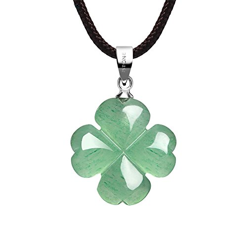 iSTONE Four Leaf Clover Necklace,Made with Green Aventurine Jade for Faith Hope Love and Luck 16 Inch Rope Chain