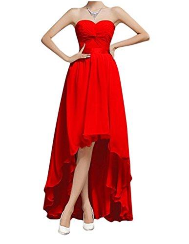 Sweetheart s Chupeng Sleveless Red High Low Women Evening Prom Chiffon Dresses w6ERE7qB