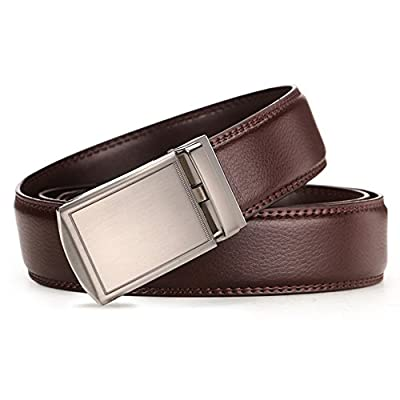 Men's Belts,Gifny Leather Ratchet Belt with Automatic Buckle 1 3/8 Wide