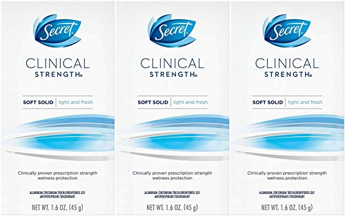 Clinical Strength Light - Secret Clinical Strength Soft Solid Antiperspirant and Deodorant, Light and Fresh Scent, 1.6 Ounce (Pack of 3)