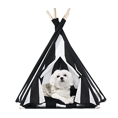 United Pups Designer Pet Teepee Tent with Matching Cushion Set for Dogs (Modern Pups Striped Black & White, Small)
