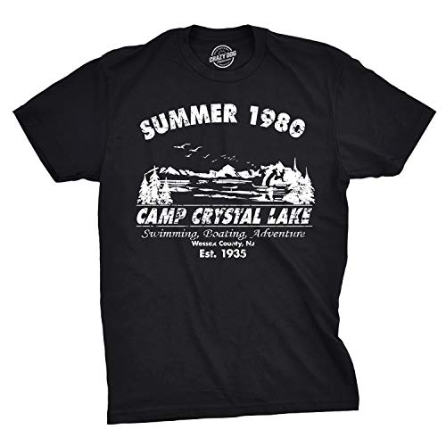Mens Summer 1980 Mens Funny T Shirts Camping Shirt Vintage Horror Novelty Tees (Black) - L