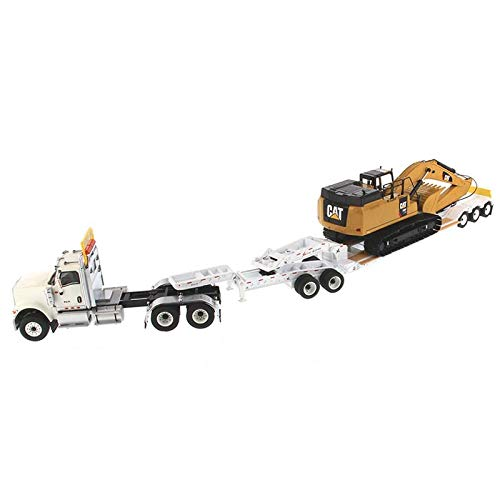 International HX520 Tandem Tractor White with XL 120 Lowboy Trailer and CAT Caterpillar 349F L XE Hydraulic Excavator Set of 2 Pieces 1/50 Diecast Models by Diecast Masters 85600 by Diecast Masters (Image #5)