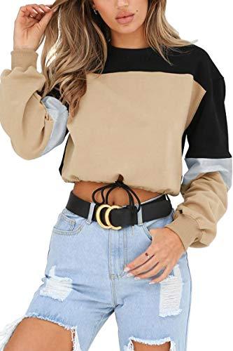 LEISUP Womens Plus Size Long Sleeve Cropped Top Drawstring Sweatshirt Khaki XL