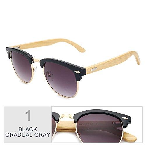 Frío Gray Gradual Gafas Madera Gafas Retro Plaza Unisex Black Hombre Lentes Tac Gafas Exterior Negro Gafas Mujer TIANLIANG04 De Azul Sol De Elegante AwxBqxv1