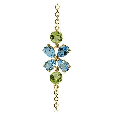 QP bijoutier naturel-Topaze bleue-Péridot & Bracelet en or 9 ct Coupe 3.15ct, POIRE - 5064Y