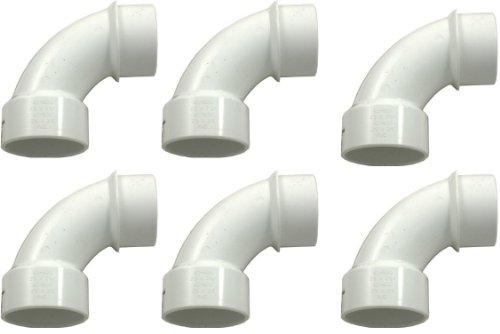 PVC Pipe Fitting 90 Degree 2 Street Sweep Elbow 411-9120 - 6 Pack