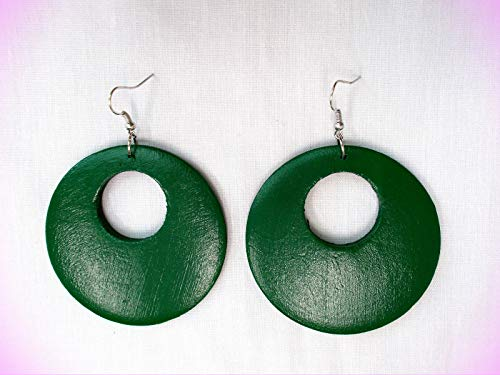"""Hunter Green - Forest Green Hand Painted Real Wood Round Flat 3"""" Hoop Crystal Fashion Jewelry Earrings For Women"""