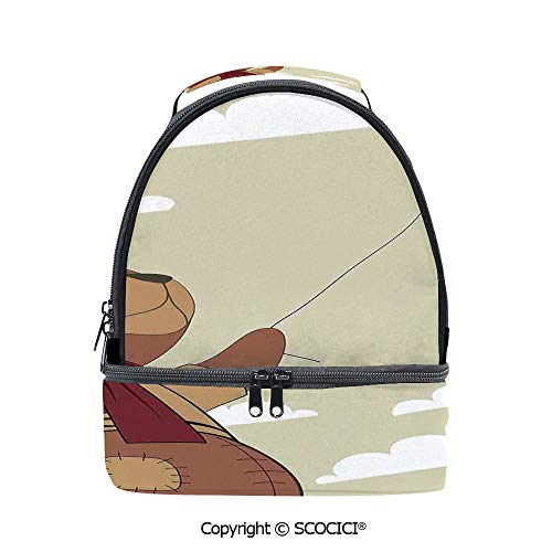 SCOCICI Large Capacity Durable Material Lunch Box A Melancholic Teddy Bear with Scarf Holding a Balloon Clouds in the Sky Clipart Multipurpose Adjustable Lunch Bag
