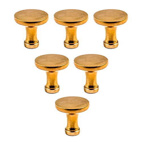Pedestal Brass Antique (6 Cabinet Knob Bright Solid Brass Pedestal 1 1/4 | Renovators Supply)